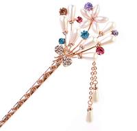 Fashion  crystal women hair sticks Flower hair clasp E1606