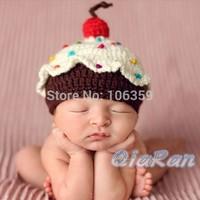 Baby Girl Boy Crochet Knit Skullies Baby Hat Cake Design Cute Newborn Baby Beanies Cap Handmade Xmas Photography Props