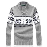 M-5XL turtleneck men / 2014 autumn and winter Christmas snowflake pattern design men's casual sweater 100% cotton jacket