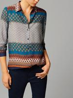 Autumn New Fashion Ladies' Elegant colored geometric print blouses turn down collar long sleeve OL shirts casual slim brand tops