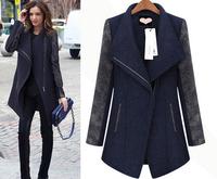 European 2014 New Fashion Women Winter Coat Side Zipper Woolen Cashmere Tweed Nibbuns Slim Fit Female Outerwear Free shipping