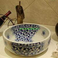 Jingdezhen art basin sinks Hand drawn cyan plum flower clusters stage basin sink