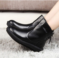 Black Lace-up PU Leather Motorcycle Flat Martin Snow Boots Women Ankle Boots Winter Warm boots botas femininas 2014