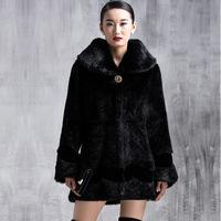 Winter Warm Striped Luxury Overcoats Ladies Elegant Mink Fur Outerwear Polish Jacket Women's Fur Coat A154 New Fashion Plus Size