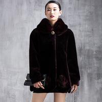 New Fashion Plus Size Fall Winter Warm Luxury Overcoats Ladies Elegant Mink Fur Outerwear Polish Jacket Women's Fur Coat  A165