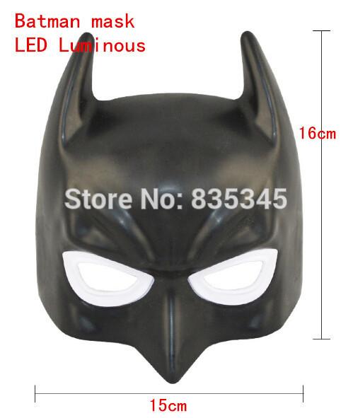 Free Shipping Hot Batman Mask Blue-emitting LED Eyes Halloween Masquerade Mask Gifts For Children / Retail and Wholesale(China (Mainland))