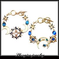 New Shining OPAL gold bangle bracelet Elegant fashion Sun & Moon Charm Bracelets Good Quality  women girls' bracelet jewelry