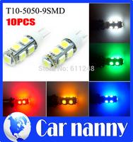 10PCS Car light source T10 clearance lights 5050SMD Licebse plate lights 9LED High Power 5W marker Lamps 12V T10 parking led car