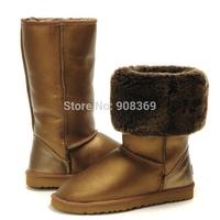 int'l Brand Metalic waterproof Genuine Leather Australia Suede,100% wool lining Women winte warm 5815 button Tall snow boot