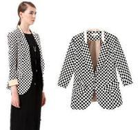 European  America 2014 new  fashion women's V Autumn long sleeved plaid  single breasted Slim Blazer jacket designer brand top H