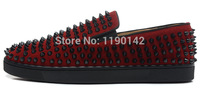 High quality Latest Fashion Flat red suede Spikes sneakers Men's shoes Red bottom