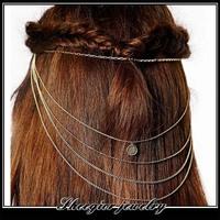 Elegant princess tassels Hair Combs  Charm Gold chains women hairband hair jewelry headbands Hair Accessories