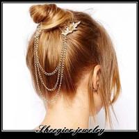 Elegant orange rhinestone tassels Hair Combs Gold chains women hairband hair jewelry headbands Charm princess Hair Accessories