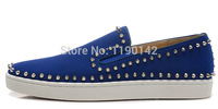 Limited Edition Blue Suede Red Bottom Men Shoes Silver Studded low Top Sneakers