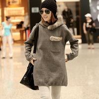 The new autumn and winter 2014 women's Hoodies & Sweatshirts fleece jacket pocket female loose big yards thick Sweatshirts