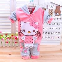 3Pcs/lot 0-2Age 2014 Spring/Autumn baby set cartoon rabbit velvet set twinset long sleeve set hoodie and pant children clothing