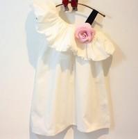 5pieces/lot, Summer Single Shoulder Baby Girl Party Dress Children white Flower Dress Clothes, A-ka105
