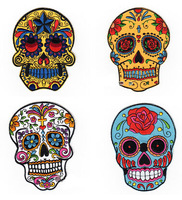 Free shipping 4pcs/lot   Iron-on rock band logo skull badges  full embroidered patch sticker for garments/bags