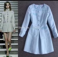 Free Shipping!Designer brand vestidos elegant light blue beading long sleeve autumn dress casual dress women