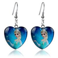 R002  fashion frozen anna elsa princess kids girls earrings Heart glass jewelry children's accessories birthday Christmas gift