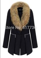 Free Shipping ! 2014  New Winter Plus Size Women Clothing Long Collars Wool Blends Coat Big Size For Women Outwear XL-6XL