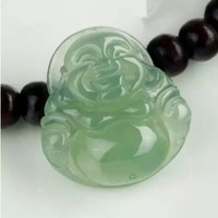 Myanmar A cargo of natural jade laughing Buddha Maitreya send silver chain pendant green jade Buddha pendant jade pendant oil