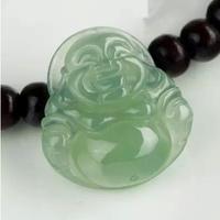 Myanmar A cargo of natural jade laughing Buddha Maitreya send silver chain pendant green jade Buddha pendant jade pendant oil