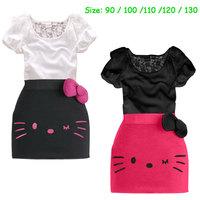 summer dress 2014 Kitty girl's dress baby girls big bow dresses children clothing Kids cartoon wear girl clothes free shipping