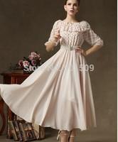polka dot chiffon long medieval dress Renaissance lace Gown princess costume Victorian /Marie Antoinette
