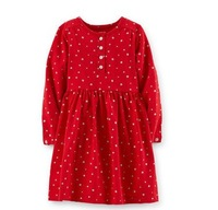 New arrival   carter Girls  Dress , 2-6Y girl longsleeve  jersey snowflace / bow print dress autumn spring