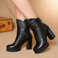 New 2014 The European Autumn Winter Boots Women Shoes Ankle Boots Heels Platform Motorcycle Boots Black Fashion Genuine Leather