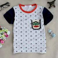 Wholesale children's clothing summer fashion new listing cartoon printed cotton T-shirt Heather Grey