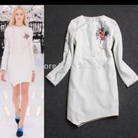 Free Shipping!Designer brand vestidos elegant white long sleeve autumn dress slim fit printing dress