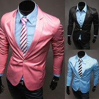 New 2014 Autumn Winter Men leisure suit Blazer Slim Pure Color Men brand leisure suit Blazer Free Shipping Promotions