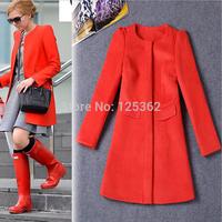 2015 New Arrival High End Woolen Coat for Women Celebrity Street Fashion Red Woolen Overcoat