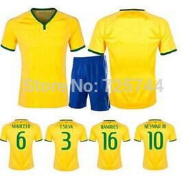Embroidery Quality PAULINHO MARCELO T.SILVA PELE NEYMAR JR RONALDINHO soccer jersey kits (shirts+shorts) 2014-15(China (Mainland))