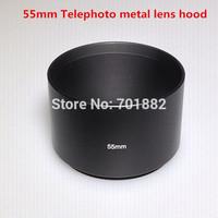 55mm 55 mm Tele Metal Lens Hood telephoto lens hood For Canon Nikon free ship + tracking number