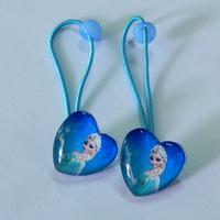 0012 fashion frozen anna elsa princess glass heart girls hair accessories / children hair rope for birthdays Christmas gift