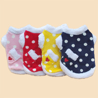 New Arrival Dog Clothes Cute Little Dot Clothes with Pocket Coral Fleece Dog Clothing Warm Winter Pet Clothing Chihuahua