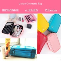 Pure color cosmetic bags for women PU mirror leather bunk and single size makeup bags handbags 4 colors admission package