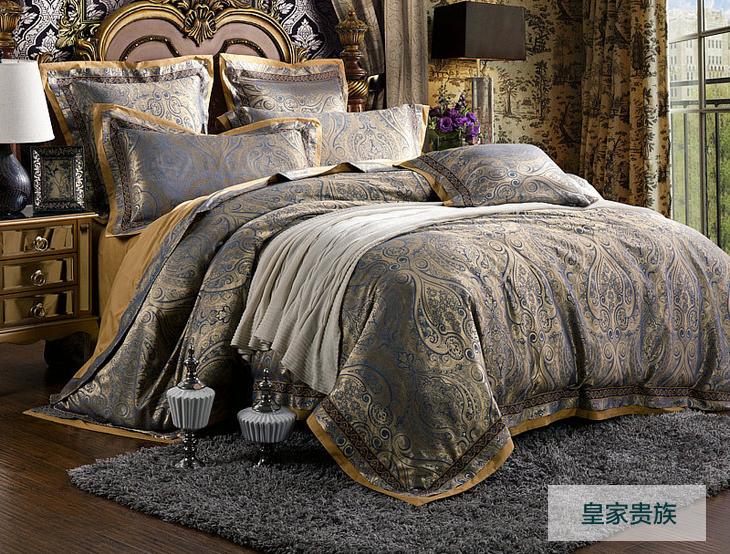 Western new clássico 4 pc conjunto de cama king size bordado conjuntos de roupa de cama roupas de cama luxuosas bedsheet set bed(China (Mainland))