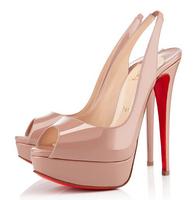 wholesale designer Women's Pumps Nude patent leather Slingbacks platform sandals shoes boots fashion high heel