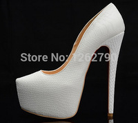 Women's Pumps Lady White snakeskin leather High Heeled Platform shoes boots pumps sandals Heels