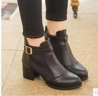 The Korean women's boots autumn Knight boots comfort belt with short boots zipper head motorcycle boots size 35-39 B161