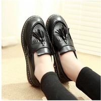Vintage thick round bottom muffin flat shoes hollow square metal with women loafers small leather shoes size 35-39 s1121