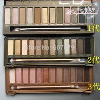 Free VIA DHL(18pcs/lot)Wholesale 2014 new NAKE Makeup set 12 Colors palette NK 1 2 3 eye shadow palettes with brush+LOGO