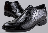 Breathable leather crocodile pattern increase in men's high-end men's wedding shoes wedding dress business crocodile leather