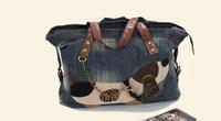 2014 New Hot Sale Cute Denim Dog Pattern Handbags Shoulder Bags Tote Bag For Women Fashion Unique Vintage Design