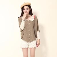 2014 Fall New brand Women - Women's sweet solid doll collar bat sleeve sweater(freeshipping)