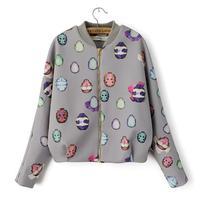 2014 winter autumn jacket women casaco new European style bat -type long sleeve baseball  jackets Beatles Printed casual